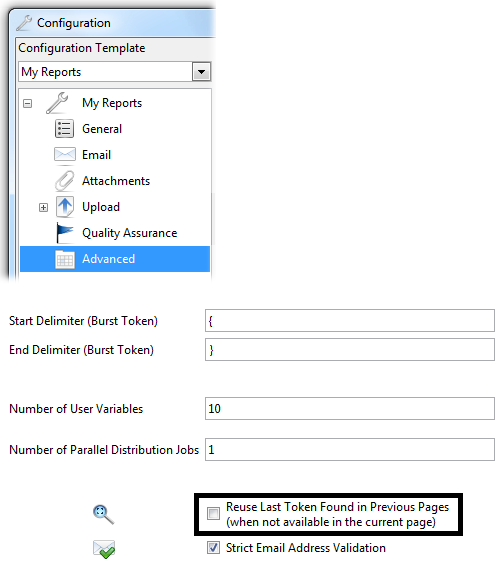 DocumentBurster Advanced Report Bursting Settings