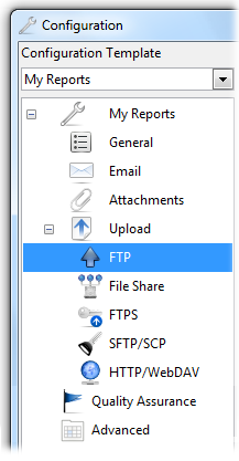 Upload reports through FTP, File Share, FTPS, SFTP and WebDAV